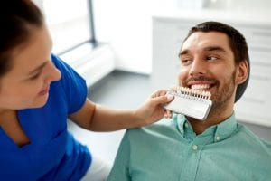 dentist choosing tooth color for patient at clinic